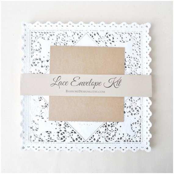 diy lace envelope kit wedding invitation