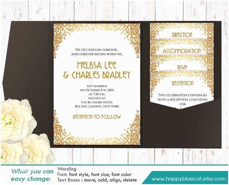 Diy Wedding Invitation software Diy Printable Pocket Wedding Invitation Template Set