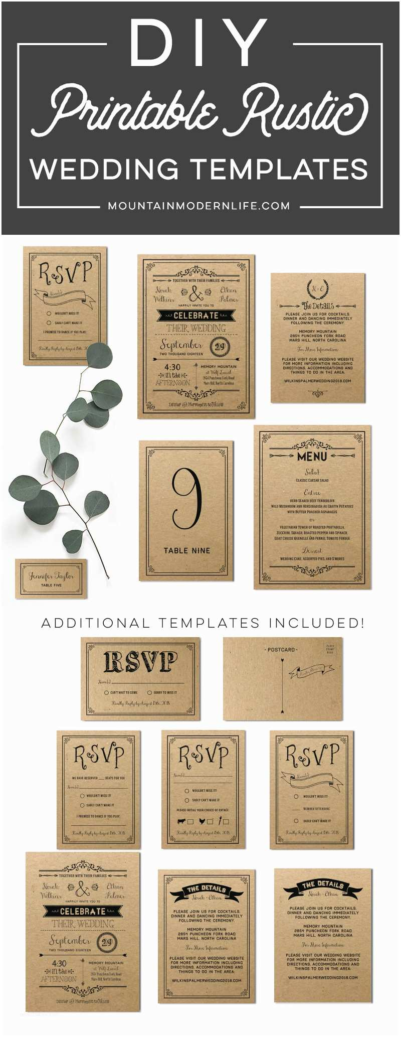 Diy Wedding Invitation software Printable Black Rustic Vintage Diy Wedding Invitation Set