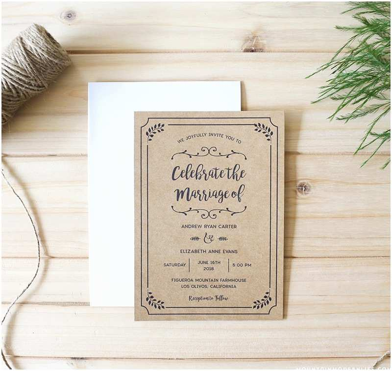 Diy Wedding Invitation software Whimsical Rustic Diy Wedding Invitation Set