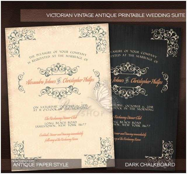 Diy Wedding Invitations and Rsvp Cards Antique Victorian Style Vintage Wedding Suite Printable