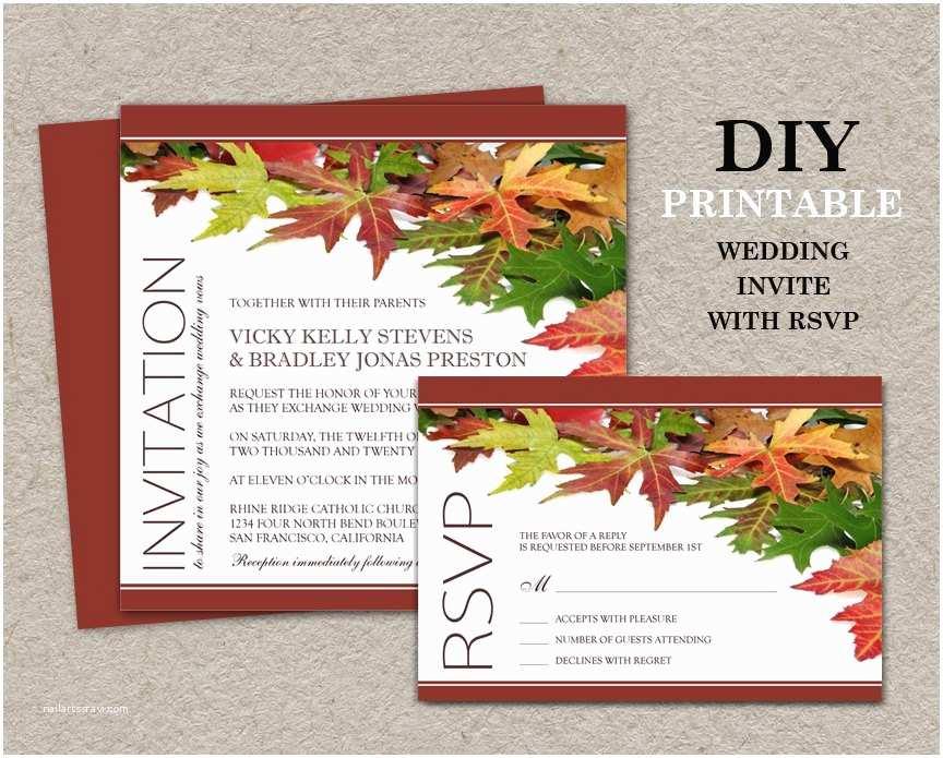 Diy Wedding Invitations and Rsvp Cards Diy Fall Wedding Invitations with Rsvp Cards Printable Fall