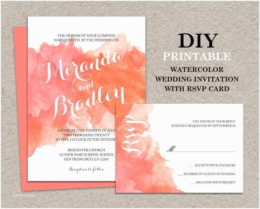 Diy Wedding Invitations and Rsvp Cards Diy Watercolor Wedding Invitation with Rsvp Card Printable