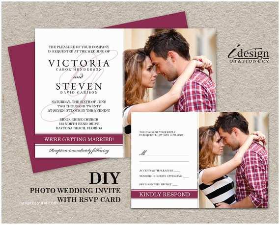 Diy Wedding Invitations and Rsvp Cards Diy Wedding Invitation with Rsvp Card Printable Wedding