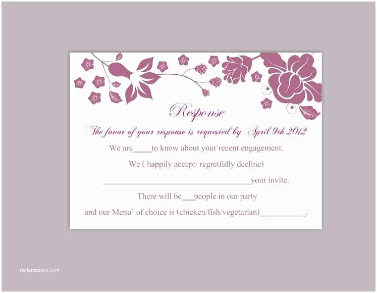 Diy Wedding Invitations and Rsvp Cards Diy Wedding Rsvp Template Editable Word File Instant