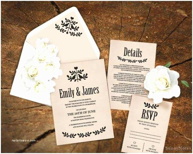 Diy Wedding Invitations and Rsvp Cards Editable Rustic Wedding Invitation Template Printable