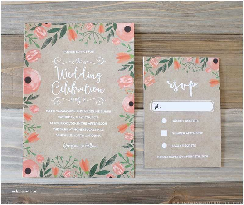 Diy Wedding Invitations and Rsvp Cards Floral Diy Wedding Invitation & Rsvp Card