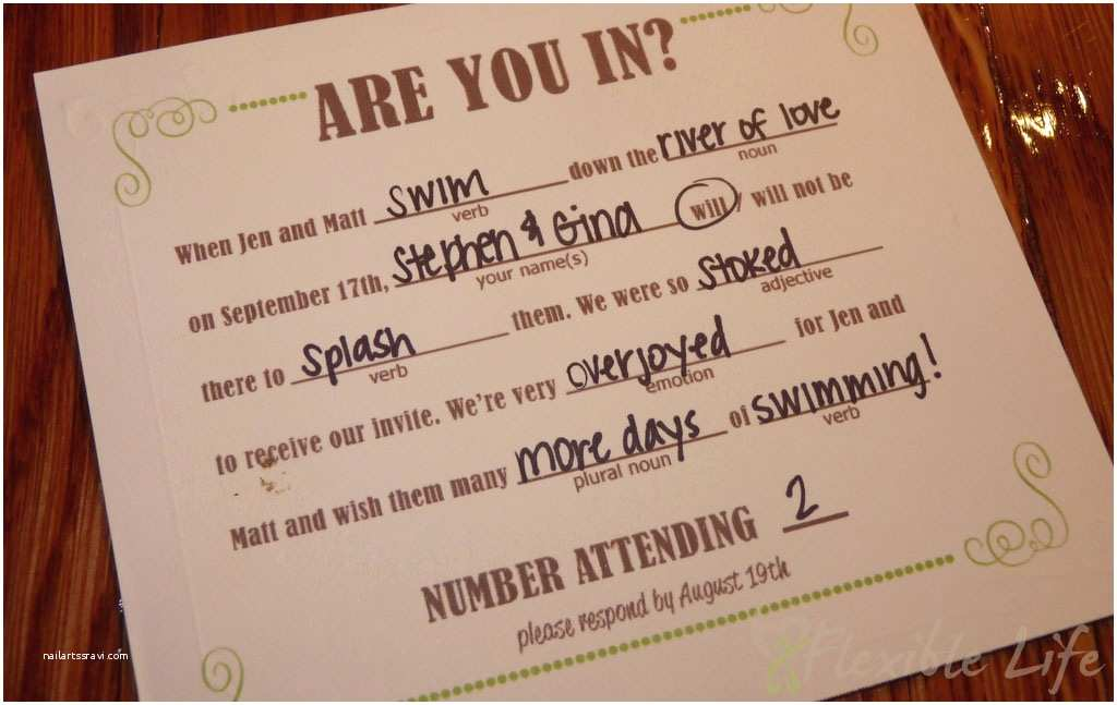 Diy Wedding Invitations and Rsvp Cards Our Diy Mad Libs Style Wedding Rsvp Invitiation Card A