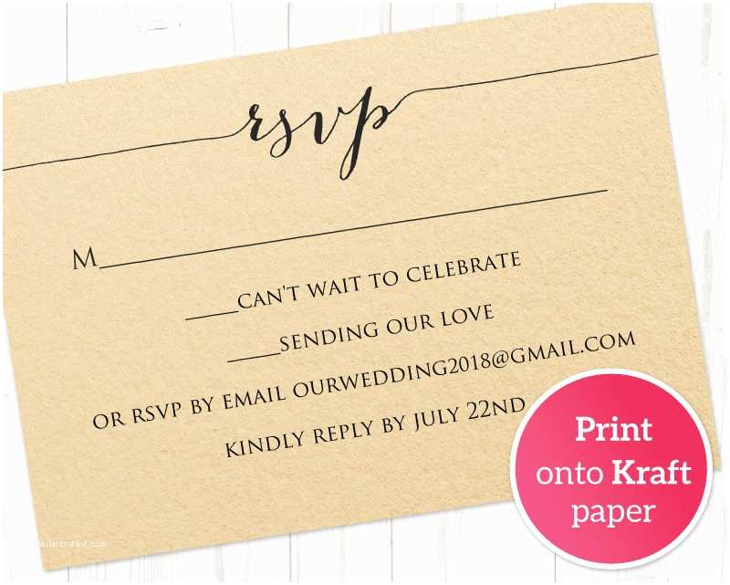 Diy Wedding Invitations and Rsvp Cards Rsvp Card Printable Template · Wedding Templates and