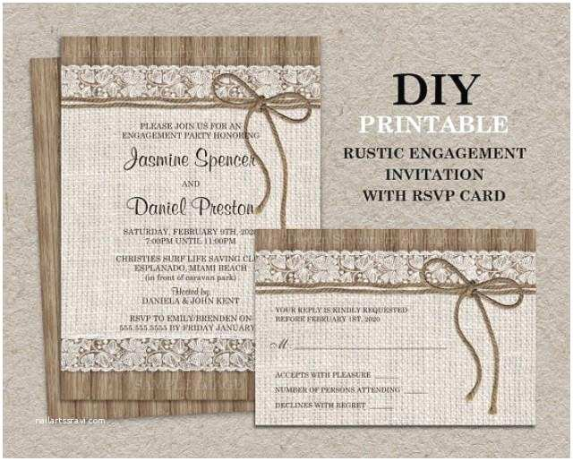 Diy Wedding Invitations and Rsvp Cards Rustic Engagement Party Invitation with Rsvp Card Diy