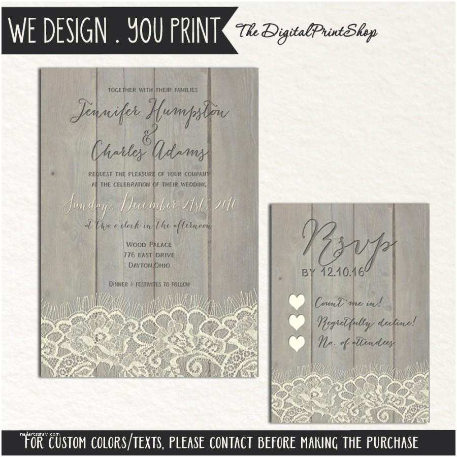 Diy Wedding Invitations and Rsvp Cards Rustic Wedding Faux Wood Invite Printable Carved Lace