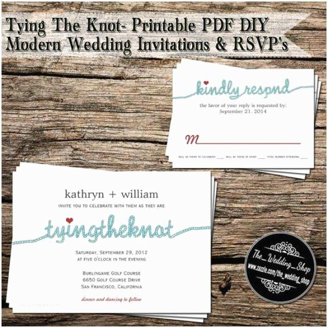Diy Wedding Invitations and Rsvp Cards Tying the Knot Printable Pdf Diy Modern Wedding