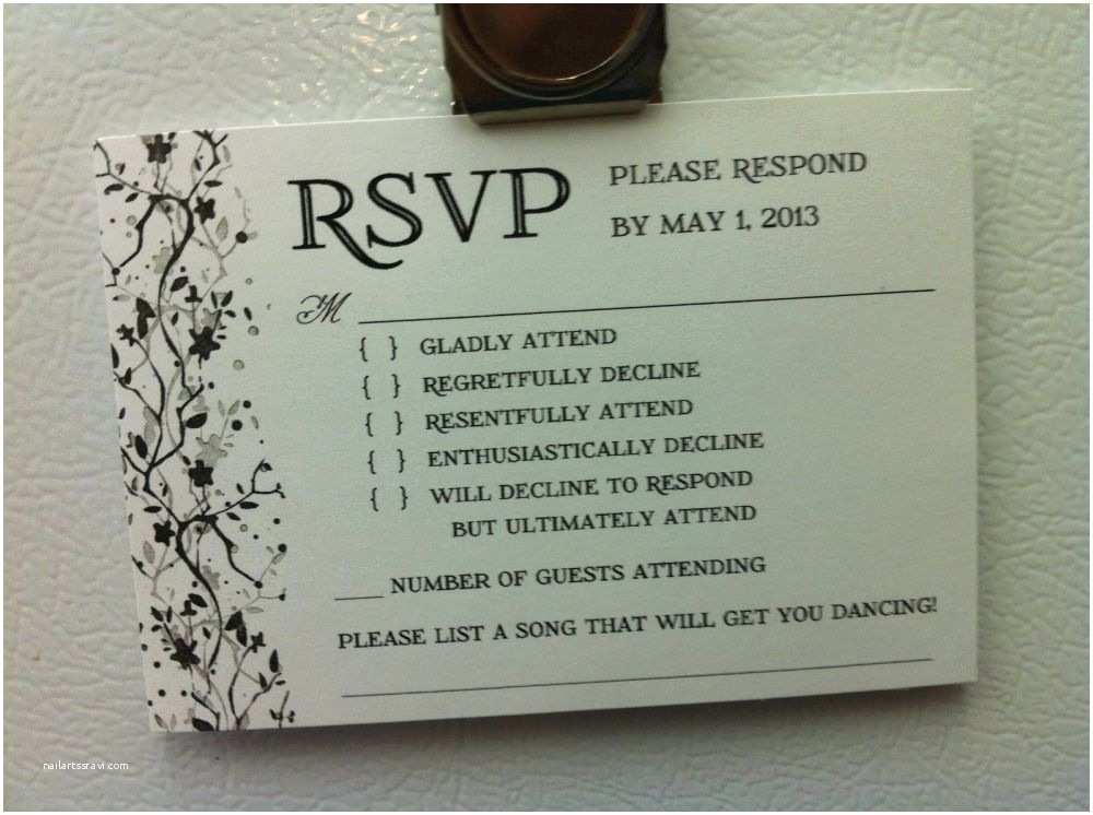 Diy Wedding Invitations and Rsvp Cards Wedding Invitation Response Card Wording Funny
