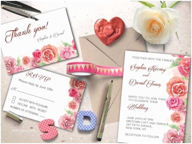 Diy Wedding Invitations and Rsvp Cards Wedding Printable Suite Hand Painted Watercolor Wedding