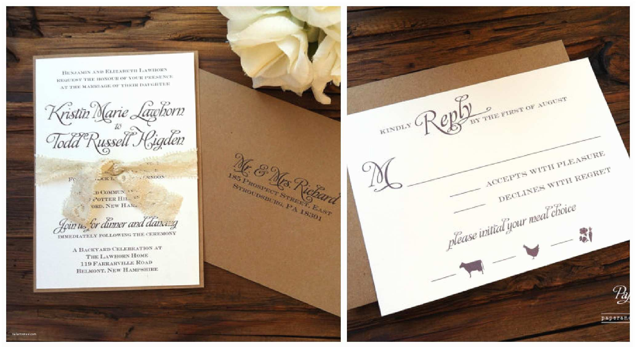 Diy Wedding Invitations Rustic Wedding Invitations