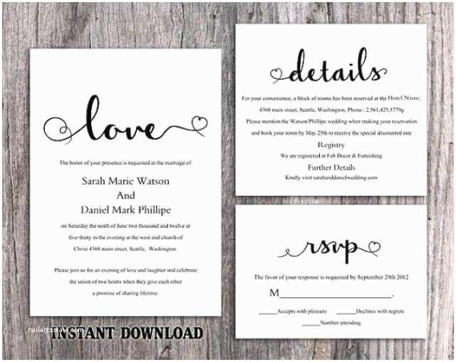 Diy Wedding Invitations Templates Diy Wedding Invitation Template Set Editable Word File