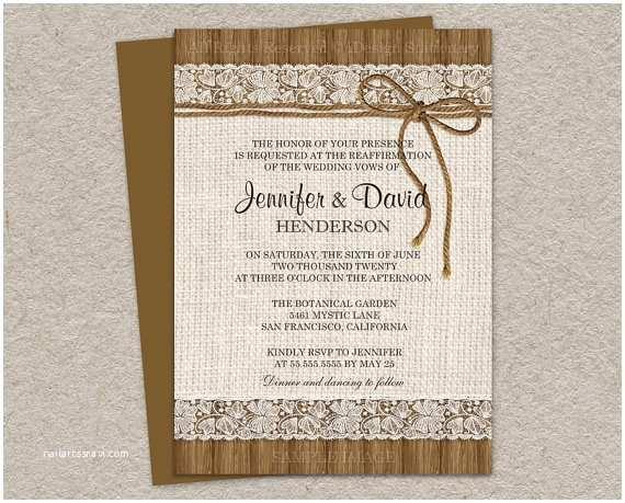 Diy Woodsy Wedding Invitations Diy Printable Rustic Vow Renewal Invitations by