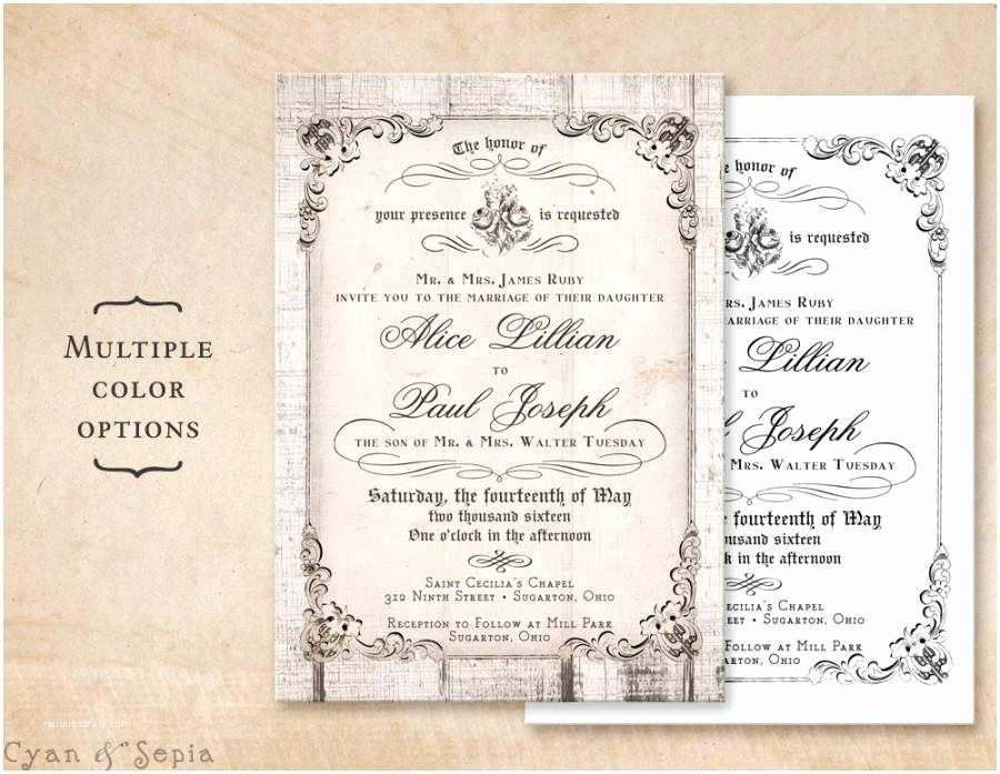 Diy Woodsy Wedding Invitations Printable 5x7 Wedding Invitation Antique Calligraphy