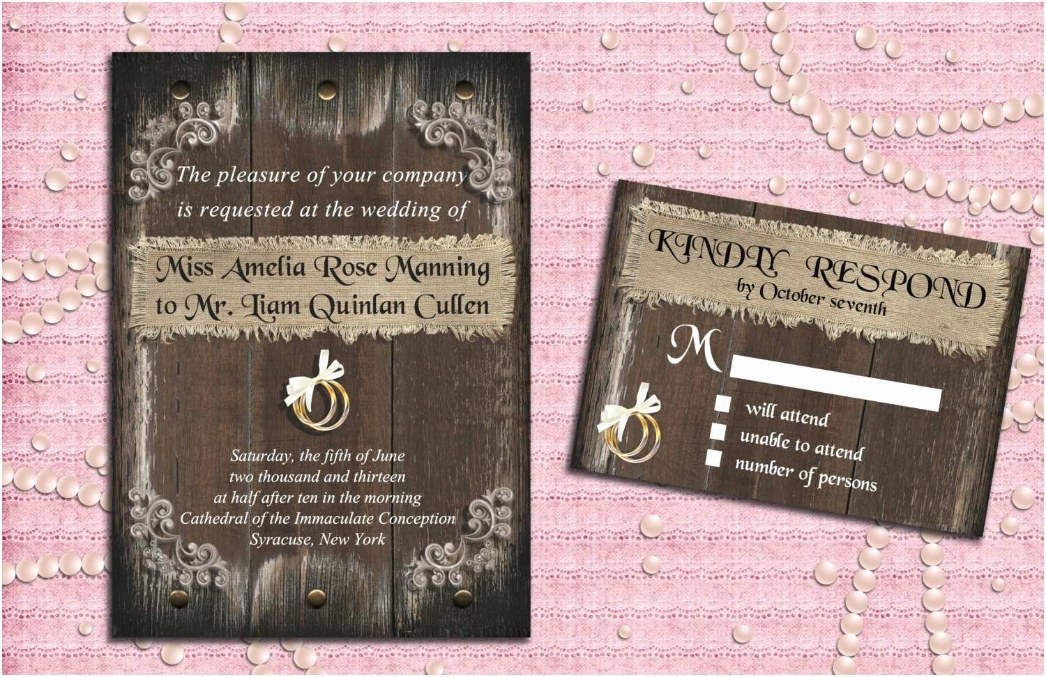 Diy Woodsy Wedding Invitations Printable Rustic Wedding Invitation Suite with Rsvp Card