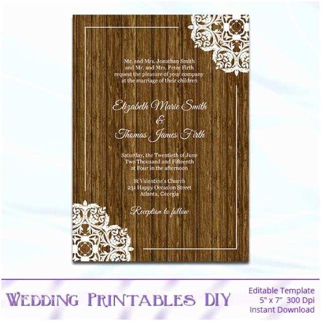 Diy Woodsy Wedding Invitations Rustic Wood Wedding Invitation Template Diy Printable