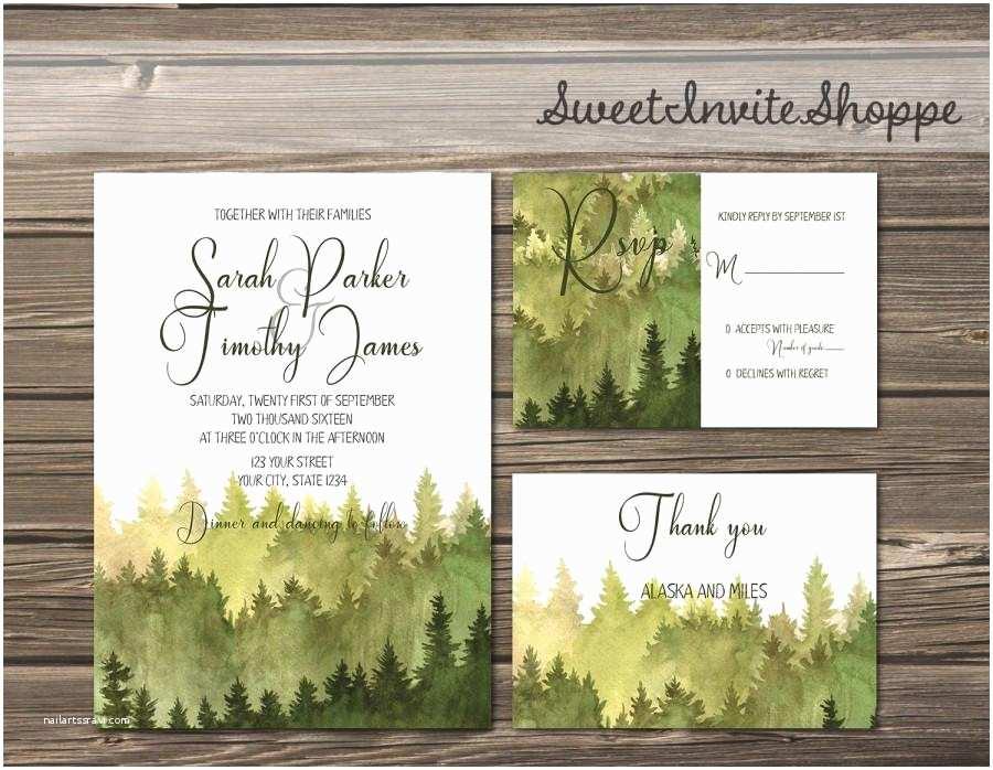 Diy Woodsy Wedding Invitations Watercolor Trees Wedding Invitation Rustic Mountain