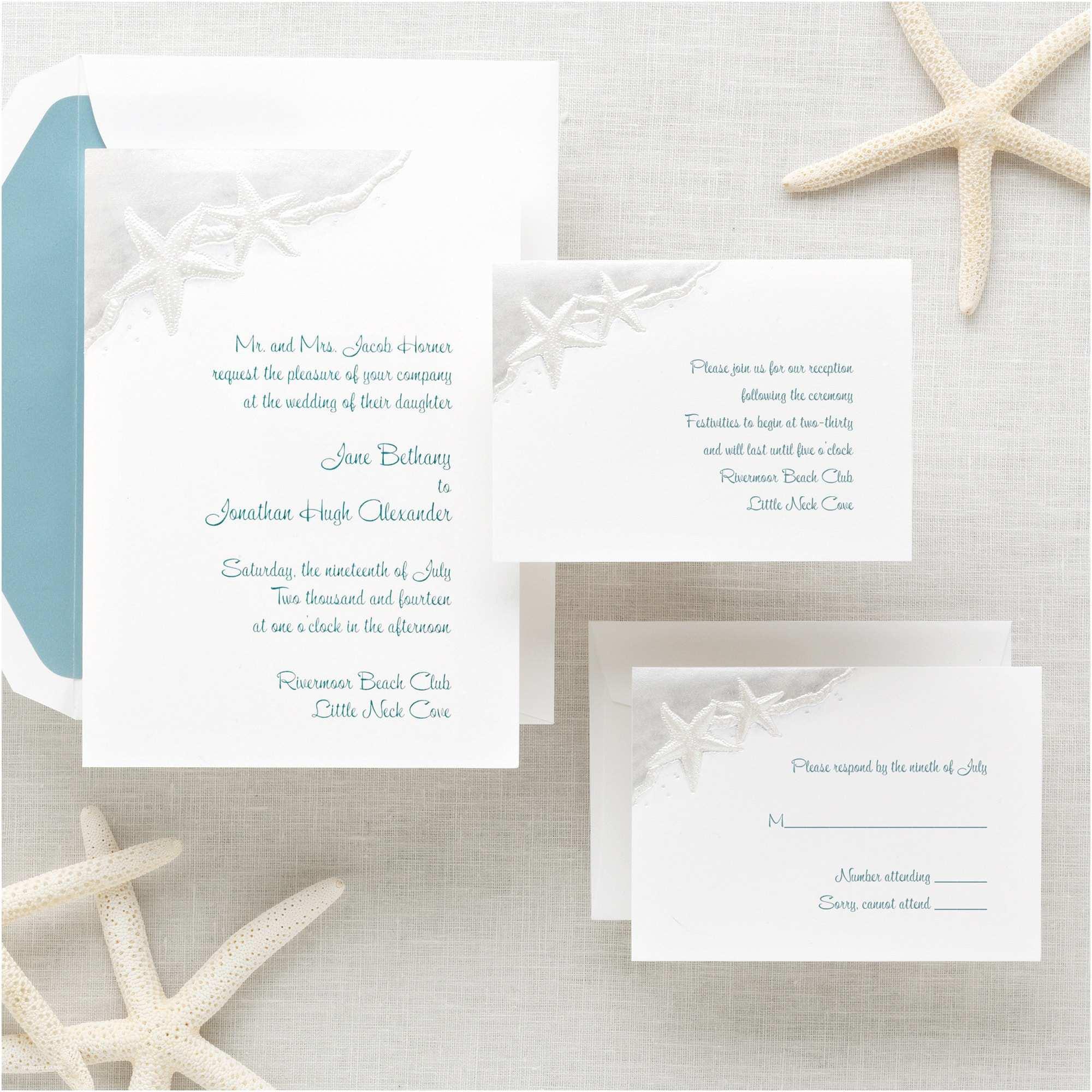 Do It Yourself Wedding Invitations Starfish Wedding Invitations