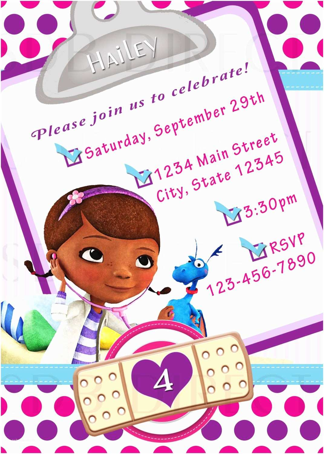 Doc Mcstuffins Birthday Invitations Cute Doc Mcstuffins Digital Birthday Party Invitations $9