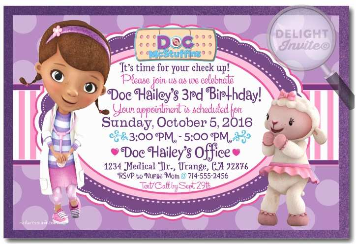 Doc Mcstuffins Birthday Invitations Mcstuffin S Di 248 Custom