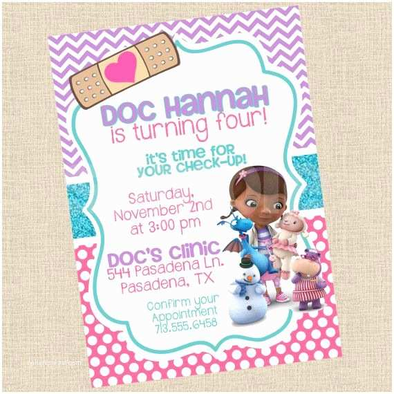 Doc Mcstuffins Birthday Invitations Printable Diy Doc Mcstuffins Inspired by Partiesinbloom On