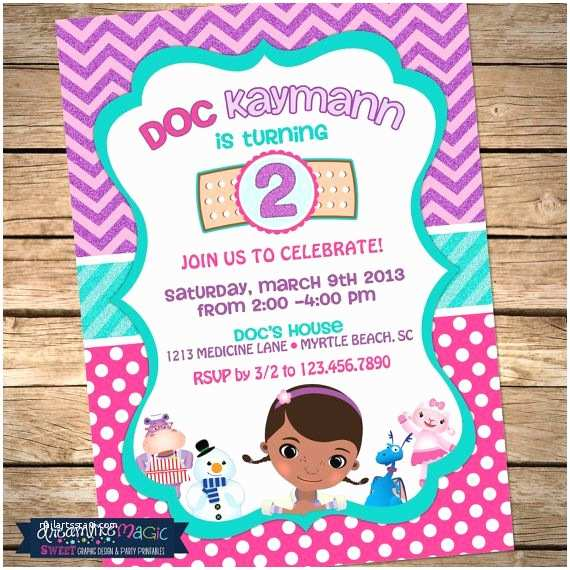 Doc Mcstuffins Birthday Invitations Printable Party Invitation Inspired Design