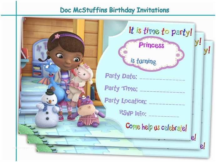 Doc Mcstuffins Party Invitations Amazing Doc Mcstuffins Birthday by Holidaypartystar On Zibbet