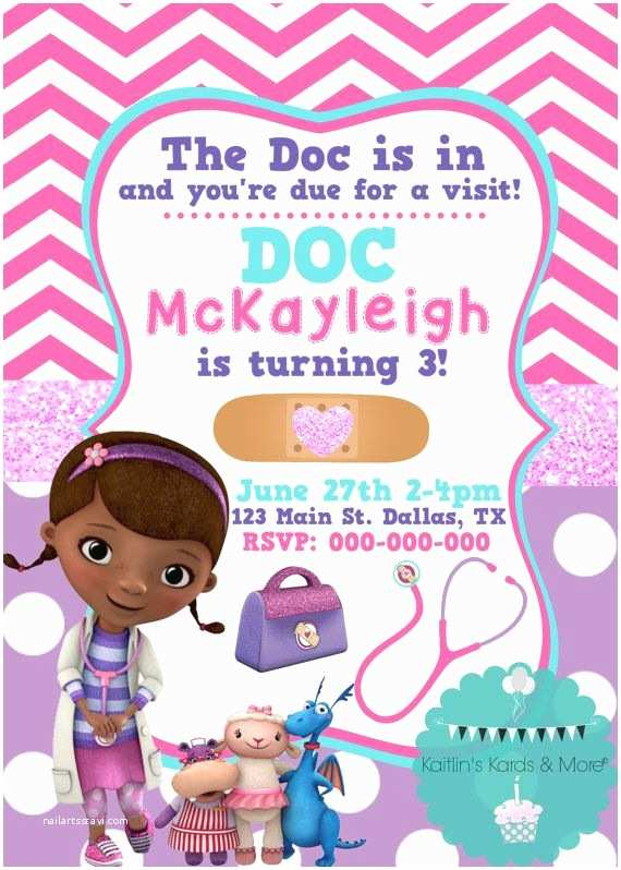 Doc Mcstuffins Party Invitations Doc Mcstuffins Birthday Invitation by Kaitlinskardsnmore