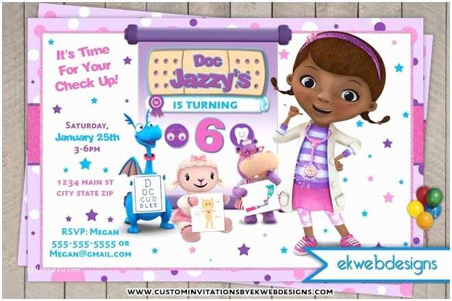 Doc Mcstuffins Party Invitations Doc Mcstuffins Birthday Invitation Custom Disney Junior