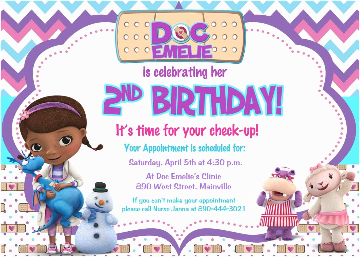 Doc Mcstuffins Party Invitations Doc Mcstuffins Birthday Party Invitation Digital File by