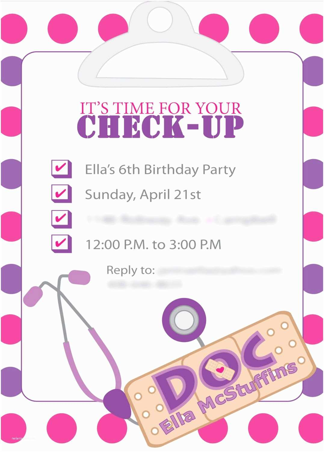 Doc Mcstuffins Party Invitations Doc Mcstuffins Inspired Birthday Invites Template Ly