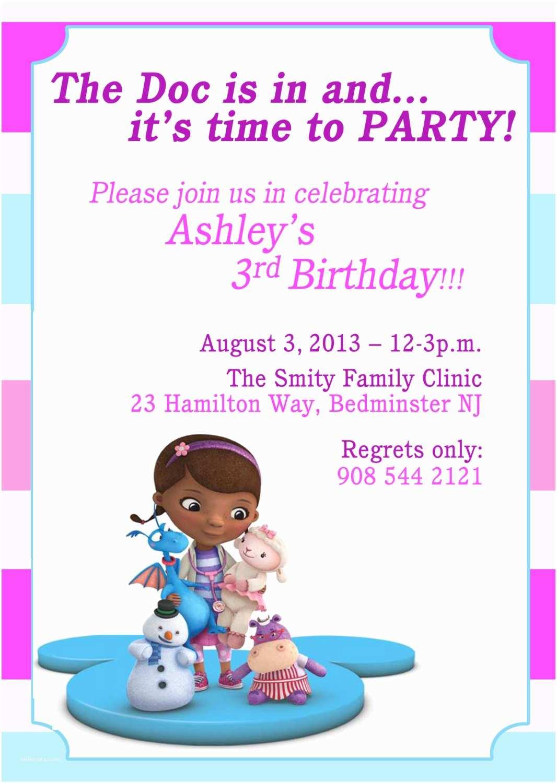 Doc Mcstuffins Party Invitations Doc Mcstuffins Invitation Doc Mcstuffins Birthday