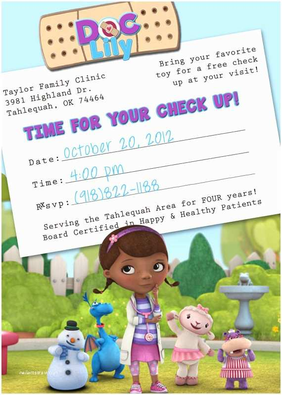 Doc Mcstuffins Party Invitations Items Similar to Doc Mcstuffins Appointment Card Birthday