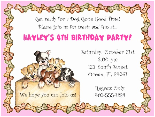 Dog Birthday Invitations Free Dog themed Birthday Party Invitations Template