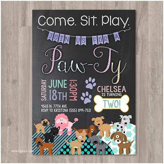 Dog Birthday Invitations Girl Puppy Birthday Invitations Printable Dog Invitations