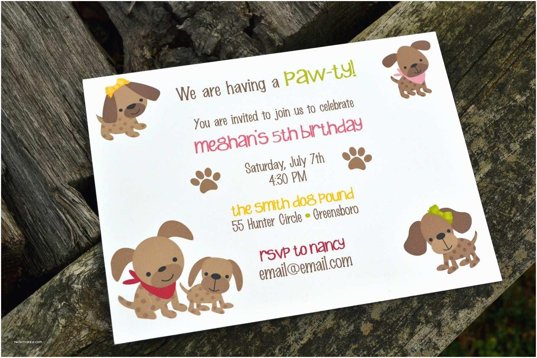 Dog Birthday Invitations Kids Puppy Dog Party Invitations Kids Birthday Party