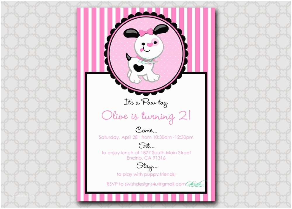 Dog Birthday Invitations Puppy Invitation 5x7 Printable Digital Invite