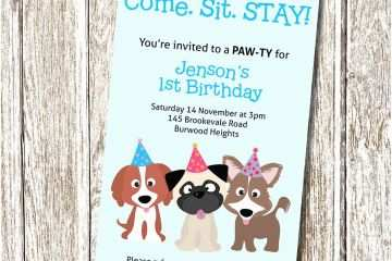 Dog Birthday Invitations Puppy Party Invitation E Sit Stay Printable