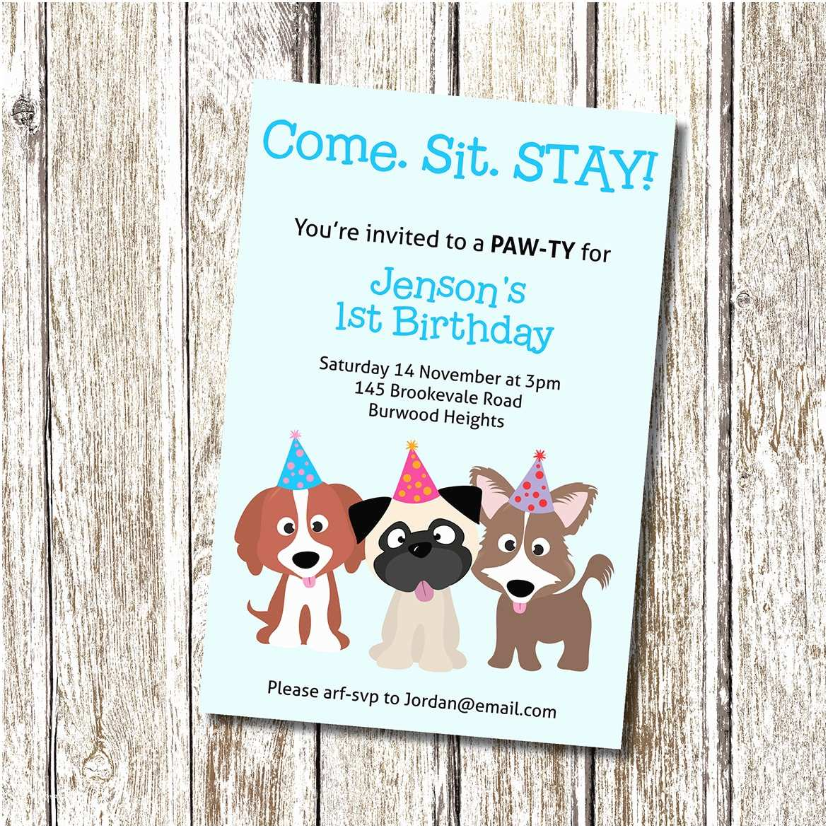 Dog Birthday Invitations Puppy Party Invitation E Sit Stay Printable and
