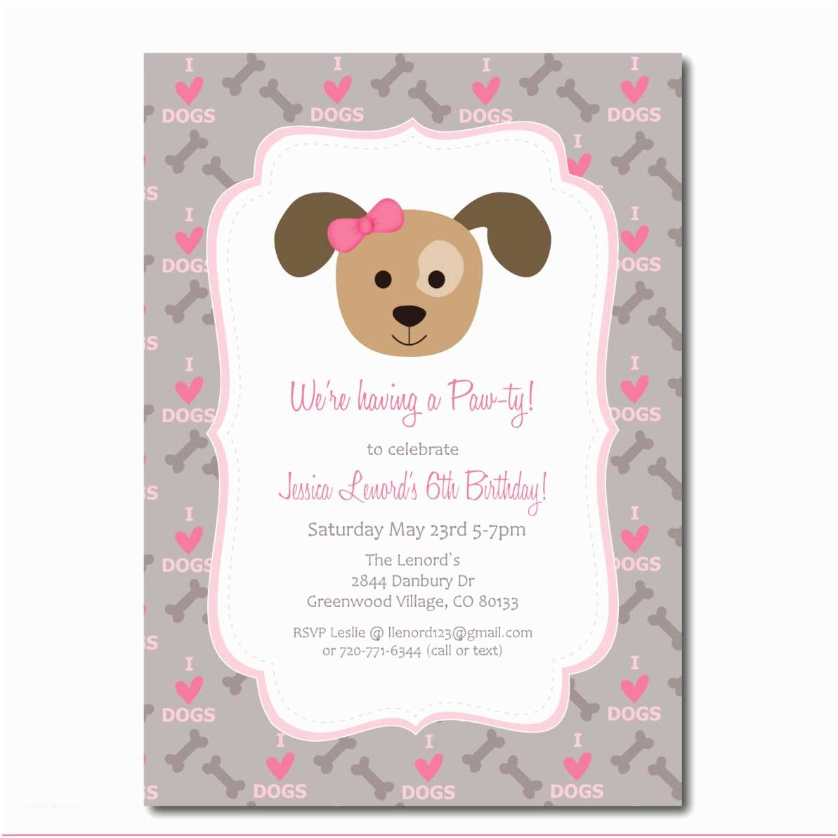 Dog Birthday Invitations Puppy Party Invitation With Editable Text
