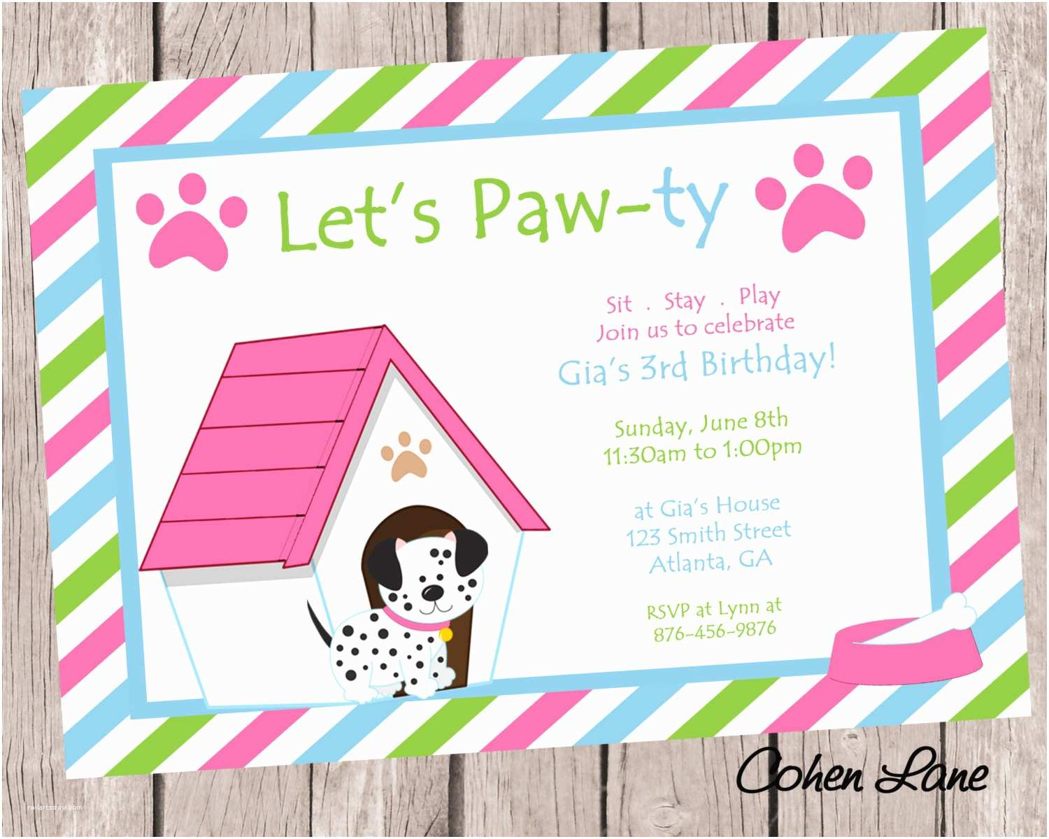 Dog Birthday Invitations Puppy Party
