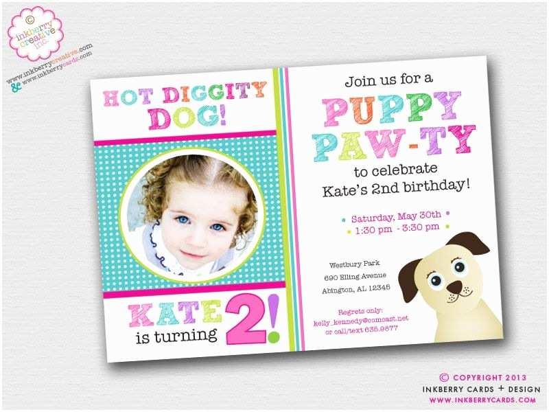Dog Birthday Invitations Puppy Paw Ty Dog theme Birthday Party Invitation