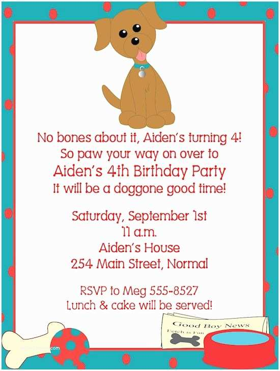 Dog Birthday Party Invitations Pug Invitation Puppy