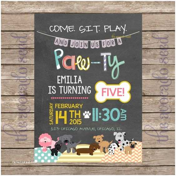 Dog Birthday Party Invitations Adorable Doodle Modern Chalkboard Style Dog Party Paw