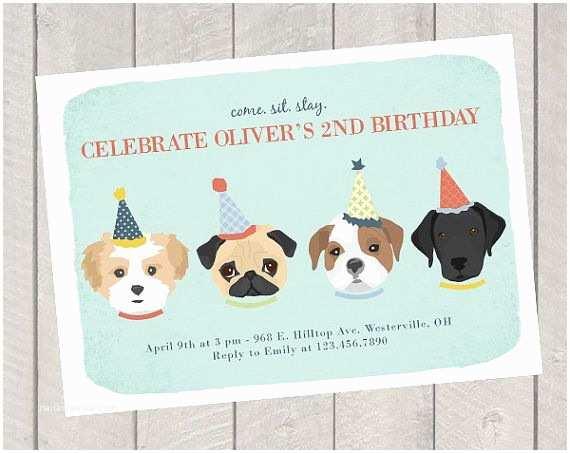 Dog Birthday Party Invitations Children S Birthday Invite Dog theme Birthday Party