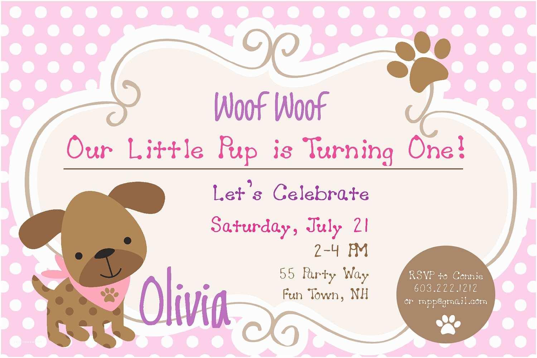 Dog Birthday Party Invitations Puppy Invites 1st